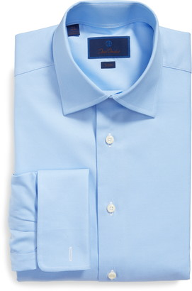 David Donahue Trim Fit Texture French Cuff Dress Shirt