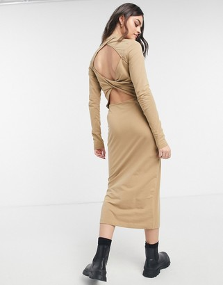 Weekday Begonia cut out back midi dress in camel