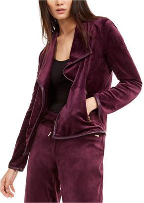 Calvin Klein Faux-Leather-Trim Flyaway Jacket