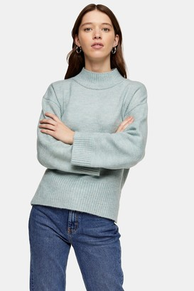 Topshop Womens Pale Blue Central Seam Knitted Jumper - Pale Blue