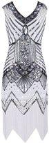 Ez-sofei Women's Vintage Sequined Embellished Tassels Gatsby Flapper Cocktail Dresses (, B-Black)