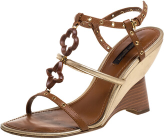 Louis Vuitton Brown Leather Eyelet T-Strap Wedge Sandals Size 37.5