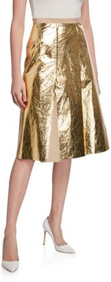 No.21 Pleated Metallic Skirt