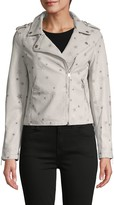 Vigoss Star-Print Faux Leather Jacket