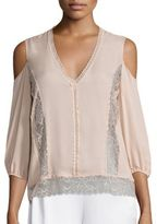 Alice + Olivia Farah Sheer Lace Cold-Shoulder Top