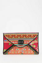 Ecote Mixed Print Embroidered Envelope Clutch