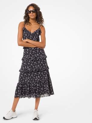 MICHAEL Michael Kors Wildflower Georgette Ruffled Dress