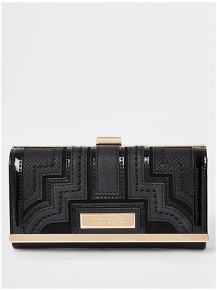 River Island Panelled Cliptop Purse - Black