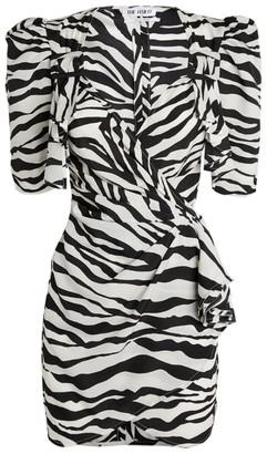 ATTICO Zebra Wrap Mini Dress