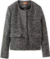 Joe Fresh Women's Tweed Bomber Jacket, Dark Grey (Size M)