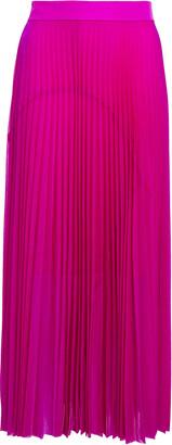 Victoria Victoria Beckham Satin-trimmed Pleated Voile Midi Skirt