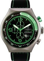 TP Men's 50 MM GREEN Aluminum Case Black and Green Dial Chronograph Tachymeter Date Watch