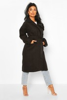 boohoo Petite Wool Look Belted Wrap Coat