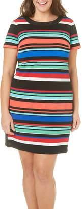 London Times Women's Plus Size Short Sleeve Round Neck Scuba Crepe Shift Dress