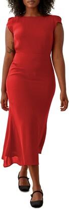 Reformation Underwood Chiffon Asymmetrical Midi Dress