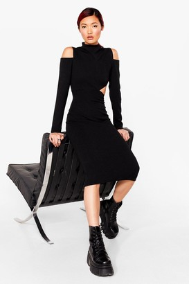 Nasty Gal Womens Cut-Out of Line Bodycon Midi Dress - Black - 4
