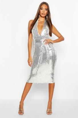 boohoo Halterneck Sequin Midi Dress