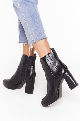 Nasty Gal Womens Croc It Off Faux Leather Block Heel Boots - Black