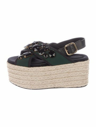 Marni Jewel-Embellished Platform Sandals green