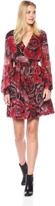 Just Cavalli Womens Long Sleeve Rose Print Dress
