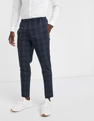 Selected slim fit suit trouser in navy check with elasticated waist