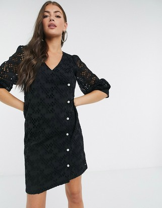 Just Female Avador lace wrap mini dress in black