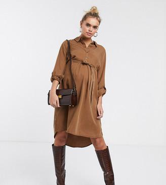 Mama Licious Mama.Licious Mamalicious Maternity shirt dress in camel-Beige
