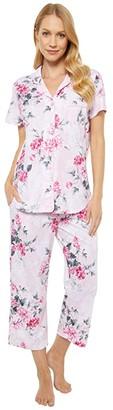 Karen Neuburger China Blue Short Sleeve Girlfriend Capris PJ (Floral Roseate Spoonbill) Women's Pajama Sets
