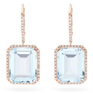 Shay Portrait Diamond & 18kt Rose Gold Earrings - Blue Gold