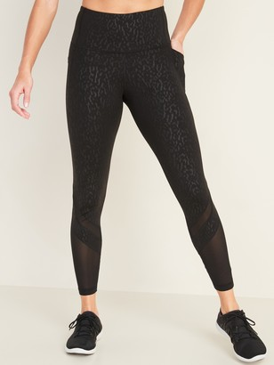 Old Navy High-Waisted Elevate Side-Pocket Mesh-Trim 7/8-Length Compression Leggings for Women