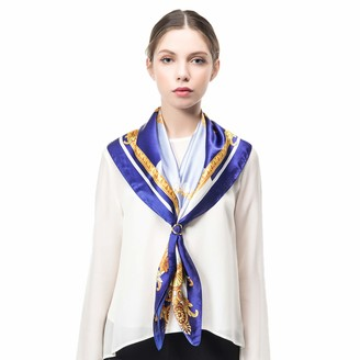 "COLD POSH Women Scarf Silk Satin Square Neck Scarves Shawls Headdress Headscarf Accessory Luxury Gift Blue Lily Print 21""x 21""(55 55cm) Reusable"