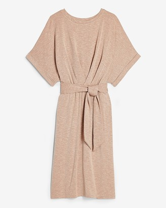 Express Rolled Sleeve Tie Waist Sheath Dress