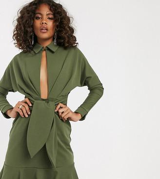 Asos Tall DESIGN Tall drop waist mini shirt dress-Green