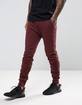 Asos Skinny Stacked Joggers In Red