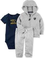 Carter's 3-Pc. Cotton Hoodie, Daddy's Little Monster Bodysuit & Pants Set, Baby Boys (0-24 months)
