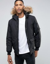 ONLY & SONS Padded Jacket with Faux Fur Trim Hood