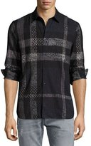 Burberry Exploded Check Woven Shirt, Navy/Gray