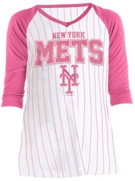 5th & Ocean Big Girls New York Mets Pinstripe Raglan T-Shirt