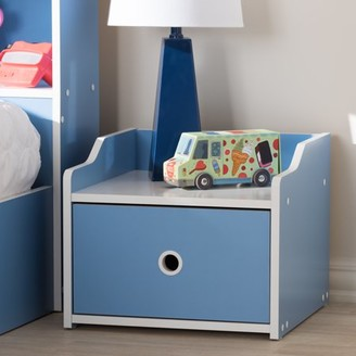 Baxton Studio Aeluin Contemporary Children's Blue and White Finished Nightstand