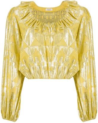 Rixo metallic Aztec blouse