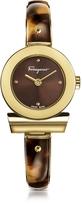 Salvatore Ferragamo Gancino Gold IP Stainless Steel and Brown Acetate Women's Watch w/Brown Dial