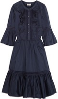 Temperley London Morganne Ruffled Cotton Mini Dress - Navy