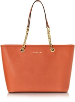 Michael Kors Saffiano Leather Jet Set Travel Chain T/Zip Multifunction Tote