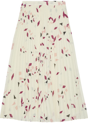 Iris & Ink Genista Pleated Printed Chiffon Midi Skirt
