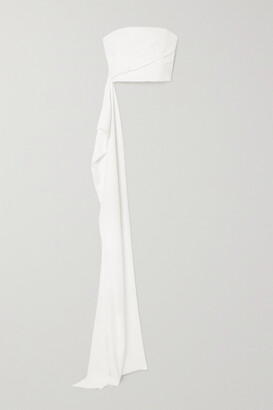 Reem Acra Draped Pleated Crepe Bustier Top - White