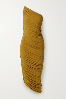Norma Kamali Diana One-shoulder Ruched Stretch-jersey Dress - Mustard