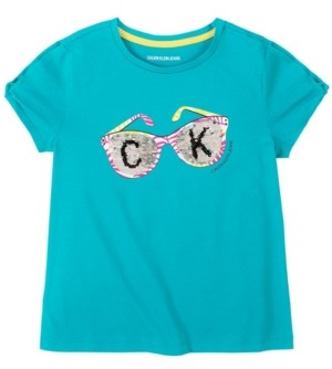 Calvin Klein Big Girls Flip Sequin Sunglasses Tee