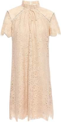 Sandro Bow-detailed Crystal-embellished Lace Mini Dress