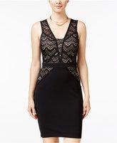 Sequin Hearts Juniors' Lace-Bodice Bodycon Dress