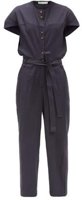 Palmer Harding Palmer//harding - Leston Stripe-jacquard Cotton-blend Jumpsuit - Navy